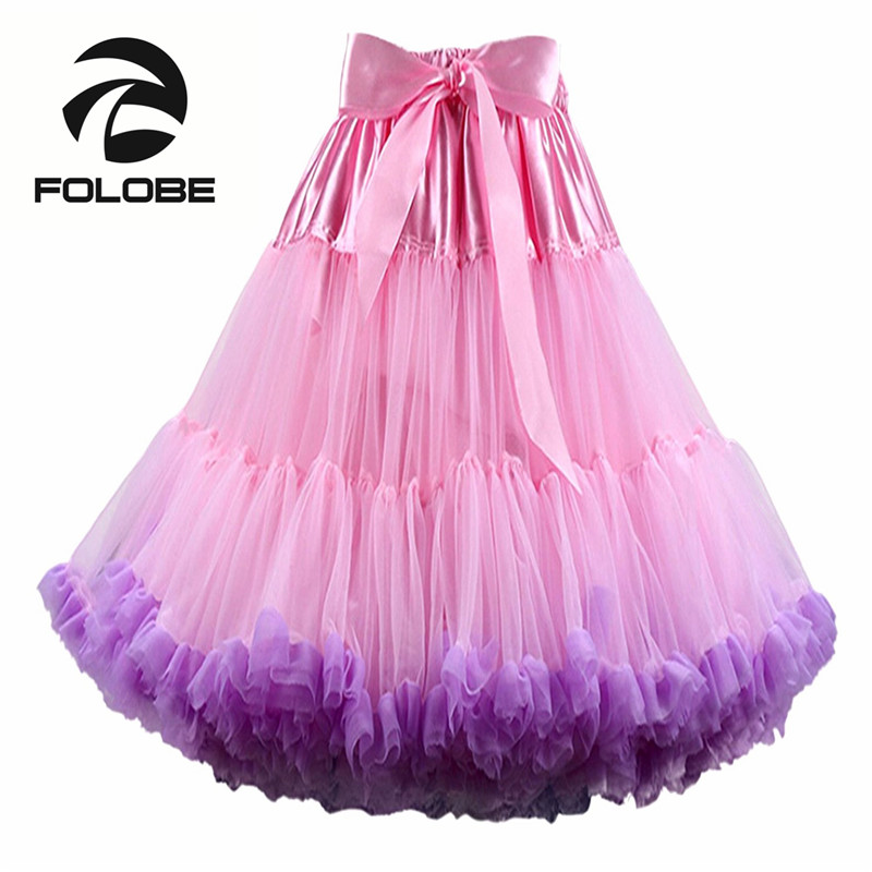 4f23c8133 FOLOBE moda Multi Color suave 55 cm mujeres chicas suave faldas Tutu  bailarina vestido de Ballet de baile fiesta faldas caliente TT009
