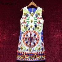 Svoryxiu 2018 Runway Summer A Line Dress Women S Sleeveless Luxurious Diamonds Appliques Colorful Print Female