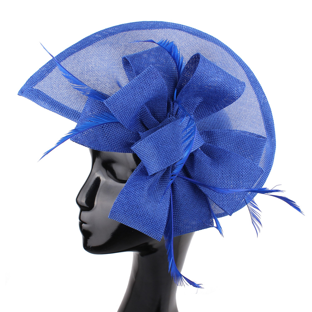 Royal Blue Vintage Fascinator Imitation Sinamay Hat Feather Flower Party Hats Bridal Hair Accessories Wedding Hats Cocktail Hats