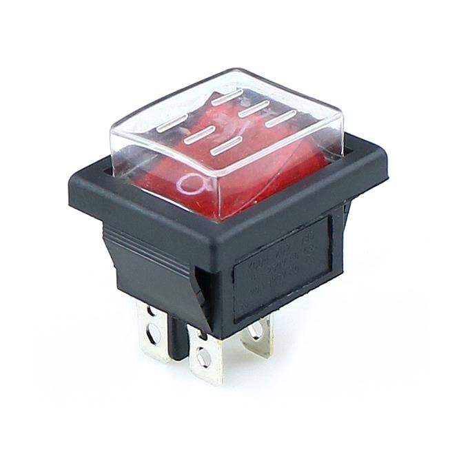 KCD4 1PCS Rocker Switch Power Switch+ Transparent Waterproof Soft Sealing Cap  ON-OFF  4 Pin 16A 250VAC/ 20A 125VAC