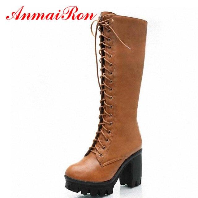 ANMAIRON noir jaune grande taille 34 43 à lacets mi mollet femmes bottes chaussures nouveau talon carré bottes hautes hiver mode plate forme pompes