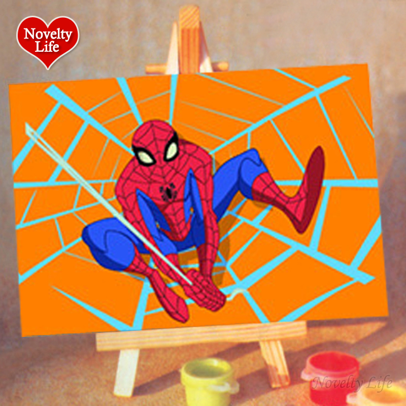 DIY Small Picture Painting By Numbers Easel Spiderman Children Home Decor Canvas Oil Painit Kids Bed Room Living Wall Boys Gifts