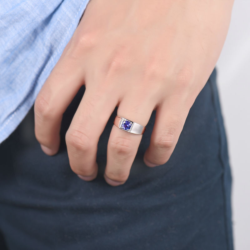 Noble Round 5mm Natural Tanzanite Wedding Rings For Men In 18Kt
