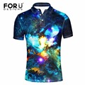 Forudesigns 2017 otoño hombre polo shirt delgado fresco galaxy espacio de impresión de manga corta camisa de algodón mercerizado camisa de polo