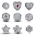 100% Authentic 925 Sterling Silver Dazzling Clear CZ Charm Beads Fit Pandora Bracelet Pendants DIY Original Jewelry Gift