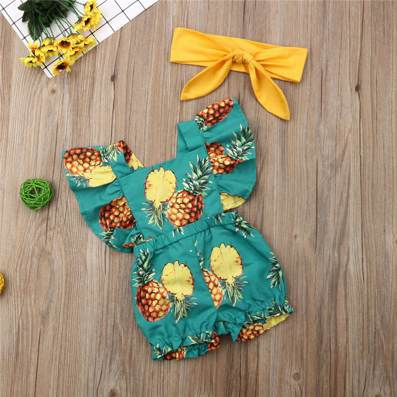 Toddler Baby Girls Clothes Solid Bow Headband Backless Ruffle Pineapple Print Square Collar Sleeveless Bodysuit 3pc Kids Outfit