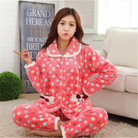 New Autumn/winter thickening flannel pajamas sets women Turn down Collar sleepwear sweet girl Dots printing Indoor Clothing