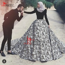 Arabic Turkish Islamic Muslim Printed Wedding Dresses with Hijab 2017 Long Sleeve Velvet Ball Gown Princess Wedding Dress ZY329