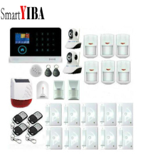 SmartYIBA  3G Wireless Wifi Alarm Security System Network IP Camera Wireless Alarm Solar Siren Glass Break Pet PIR Alarm Kits