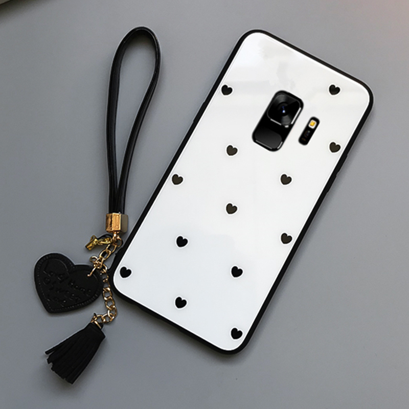BONVAN Tempered Glass Case For Samsung Galaxy s9 s8 plus Love Heart Cover For Samsung Galaxy Note 9 8 s8 s9 Tassel Lanyard Case in Fitted Cases from Cellphones Telecommunications