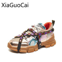 Rhinestone Shallow Women Casual Sneakers Brand Designer Platform Lace Up Female Flat Casual Shoes Crystal Flats