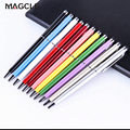 10color/lot 2 in 1 stylus pen for iphone 7 Galaxy Note 7 metal capacitive touch pen + ball point pen drop shipping