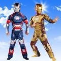 Niño Niños Traje de Halloween Iron Man Marca Patriot Muscle Avengers Superhero Fantasia Cosplay