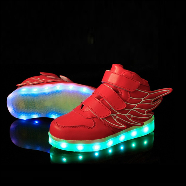 Eur 25-37 Kids Sports Sneakers New Charging Luminous Lighted Colorful LED Lights Children Sports Shoes AG04-2