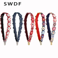 SWDF FASHION 12 Colors Flower Strap Belt PU Leather Lengthened Shoulder Bag Strap Replacement Women CrossBody Strap Accessories