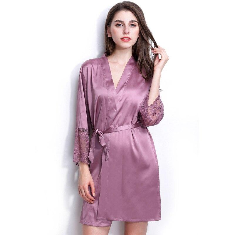 Fashion Rayon Silk Robe Bathrobe Women Short Satin Robe Women Peignoir Womens  Sleepwear Robes Dressing Gown Pijama Pink  3736d6651e03