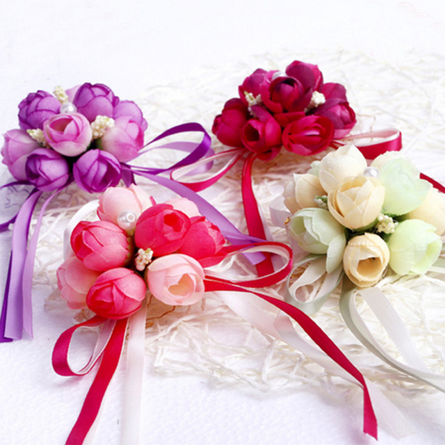a94eb0d4e3 US $0.65 15% OFF|4 Colors Rose Wrist Corsage Bridesmaid Sisters hand  flowers Artificial Bride Flowers For Wedding Party Bridal Prom Decoration  -in ...