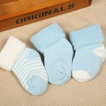 3 Pairs Baby Socks 0-3 Years Thicken Warm Stripe Children's Newborn Socks Soft Cotton Breathable Antibacterial Hosiery Girl Sock