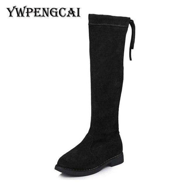 الركبة عالية الفتيات الأميرة الأحذية الخريف الشتاء الأطفال سميكة الحرارية الدافئة الأحذية حجم 26 36 أسود براون الأحمر الفتيات أحذية عالية