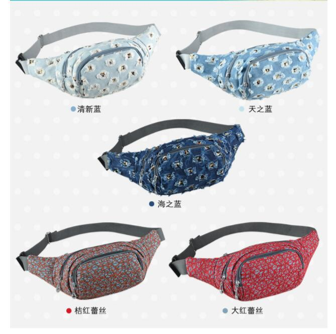 DHL 10 Pieces Holes Lace Handbag Denim Fanny Pack 2020 Shoulder Bag Waist Pack Casual Chest Bag