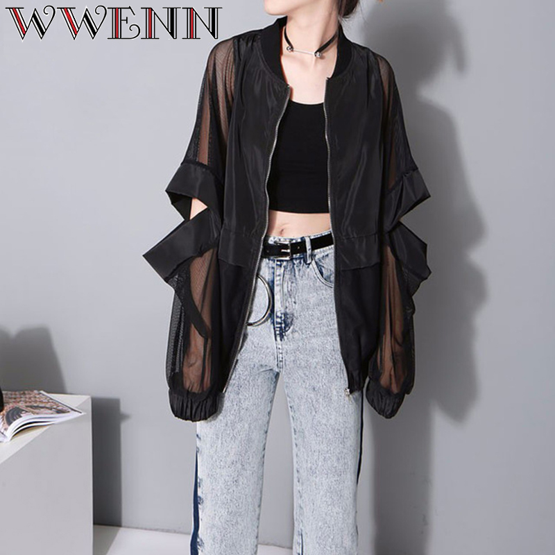 2018 summer new sexy semi-permeable sunscreen cardigan stitching Hole loose long sleeve thin coat Women jacket chaqueta mujer