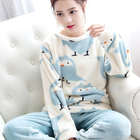 Autumn Winter Women Flannel Pajamas Set 2016 Women Pajamas Sleep Tops Pant Sleepwear Warm Nightgown Printed