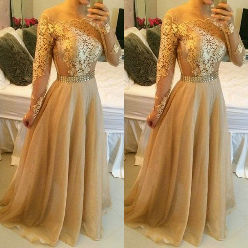 Gold Evening Dress Lace And Oganza Vestidos De Festa Long Sleeve Formal Off The Shoulder In Dresses From Weddings Events