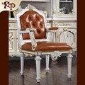 Лучшая цена Антикварных высший сорт кожа обеденные стулья из массива дерева стулья Европа стиль