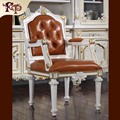 best price Antique top grade cowhide dining chairs solid wood chairs Europe style