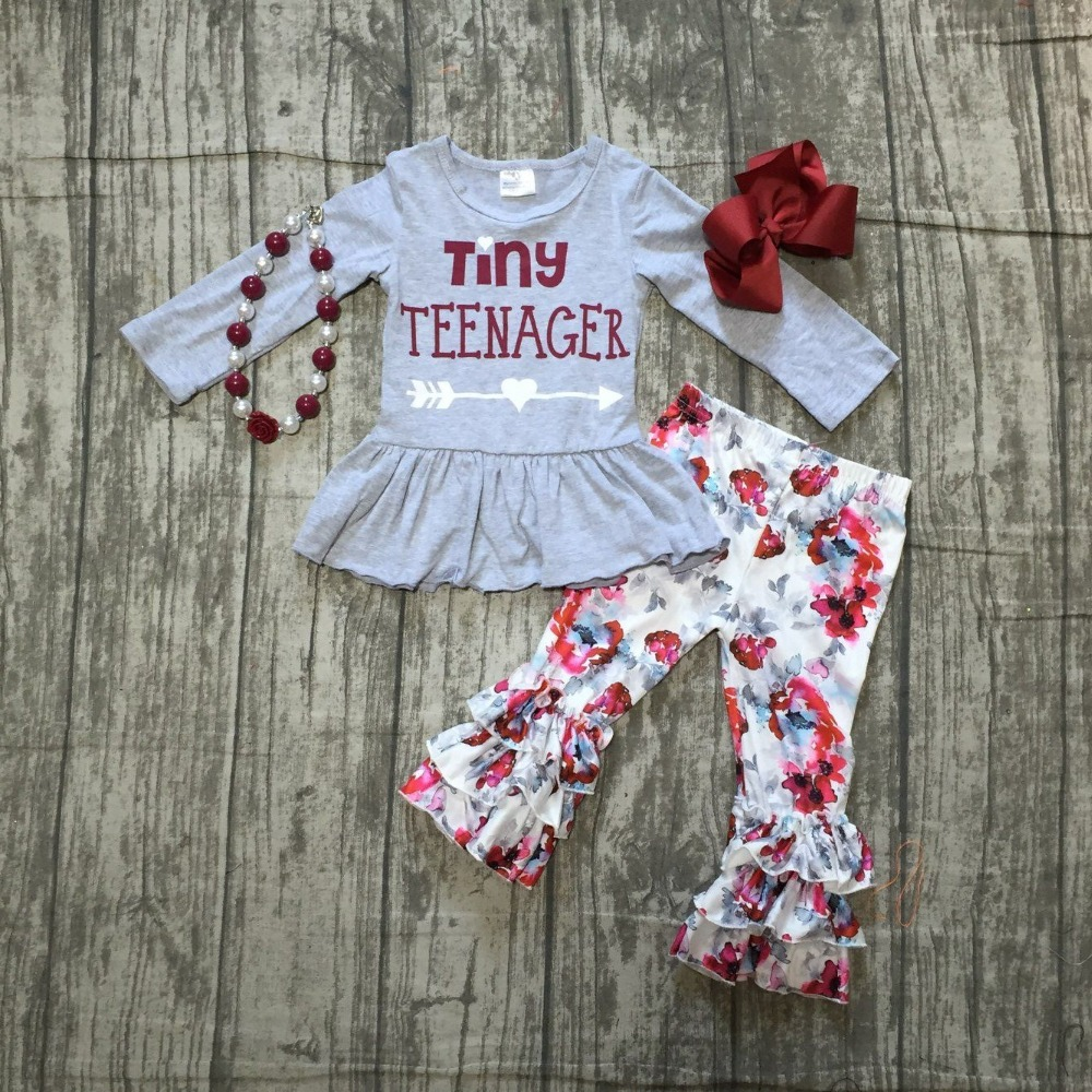 купить thanksgiving Fall/Winter baby girls outfits pant tiny teenager floral grey children clothes ruffle boutique match accessories недорого