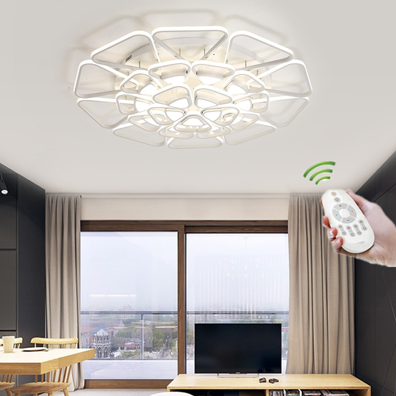 Led ceiling lights for living room Bedroom ceiling lights Fixtures with Remote Control Iron Acrylic lampshade led deckenleuchte chandeliers lights led lamps e27 bulbs iron ceiling fixtures glass cover american european style for living room bedroom 1031