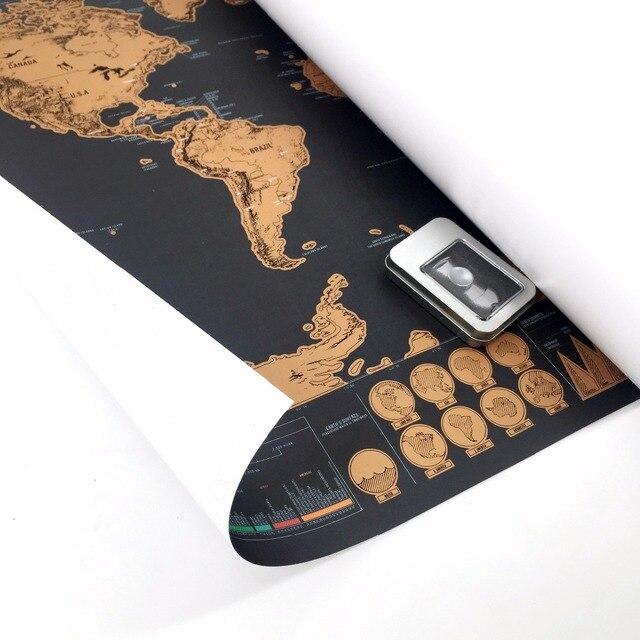 В страны мира нуля deluxe пустошь карта Плакат персонализированные мира плакат для путешествий Home Decor Wall Art 82x59 см Скретч Карта