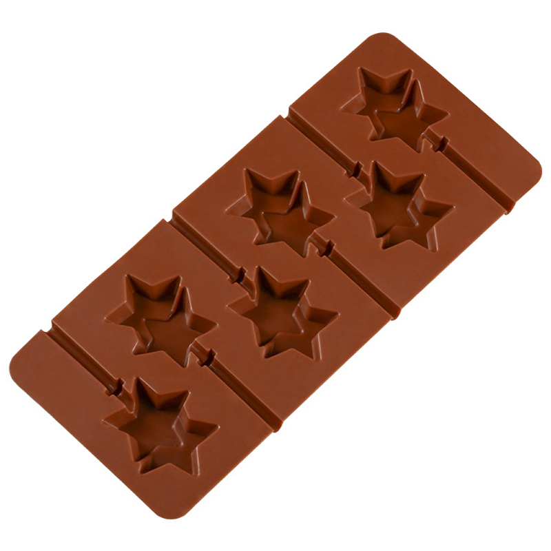 1pc DIY Silicone Bakeware Mold Silicone Double Star Lollipop Chocolate Pan Mould Backing Jelly Pudding Mold Silicone Ice Cube