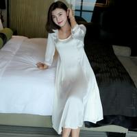 Free Shipping Women Sexy Nightgown Satin Silk Pyjamas Princess Long Sleeve Sleepwear Female White Lace Nightdress Sleepshirts