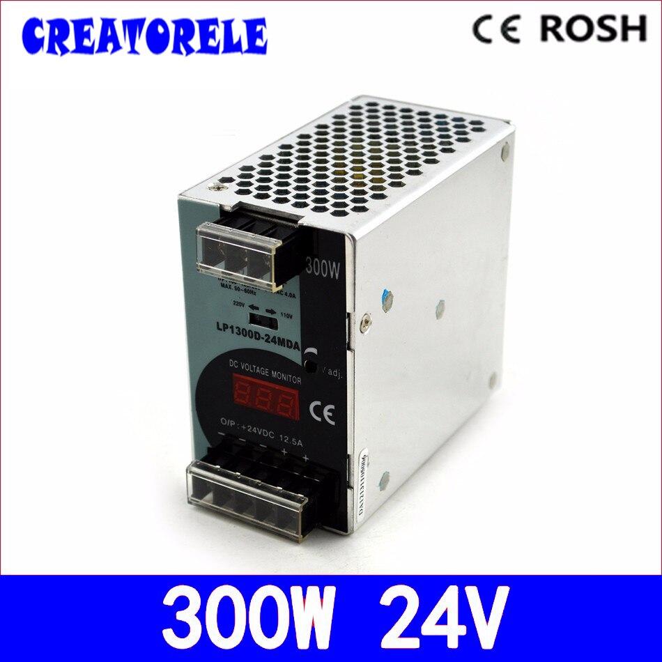 Ac à dc 300 W 24 v 12.5a LP-300-24 rail din-affichage numérique Led source de conducteur alimentation à découpage volt