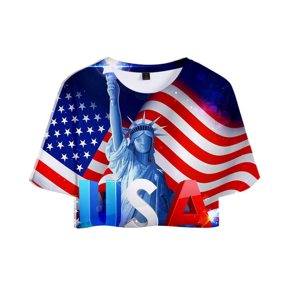 Последняя женская Повседневная 3D футболка пупка с коротким рукавом американский День Независимости Летняя Сексуальная 3D Футболка с принтом комфорт XXS-4XL