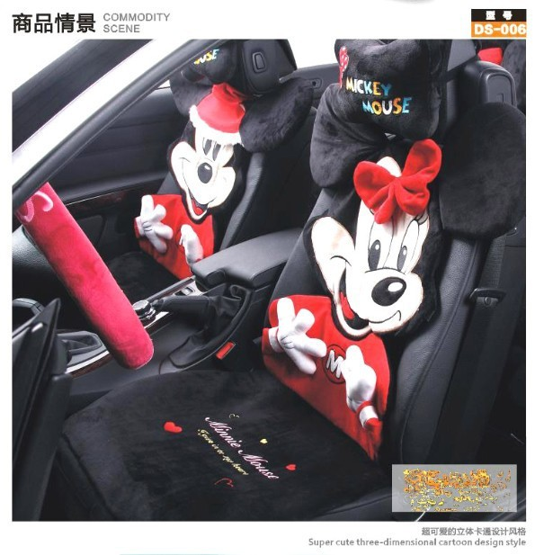 Cute Mickey Mouse Car Seat Covers Sets With Steering Wheel Cover Head Rest Pillow 1