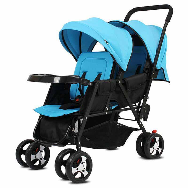 Foldable Twins Baby Carriage, Lightweight 9.6KG Twins Stroller with 8 wheels, adjust seat twins pram with mosquito net bollard twins outfit