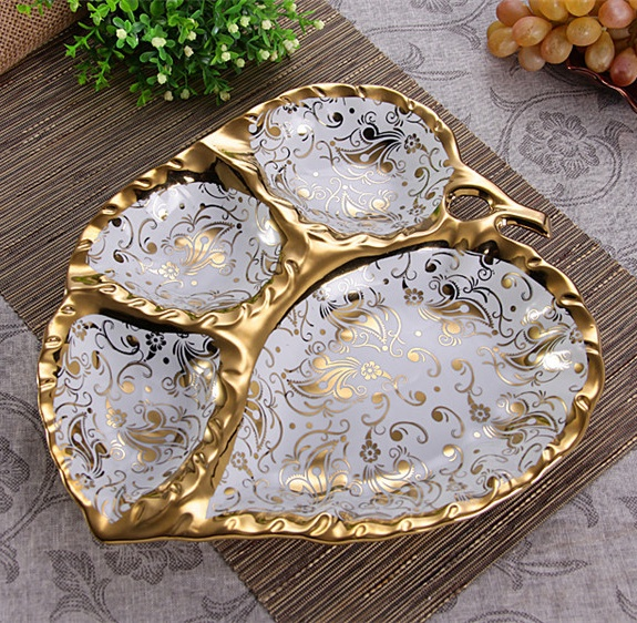 Novel Ceramics Leaf Shape Divisions Dinner Plate Decorative Porcelain Serving Dish Tableware Ornament Craft for Sweet & Abstract Female Dancer Ceramic Fruit Plate Ornamental Porcelain ...