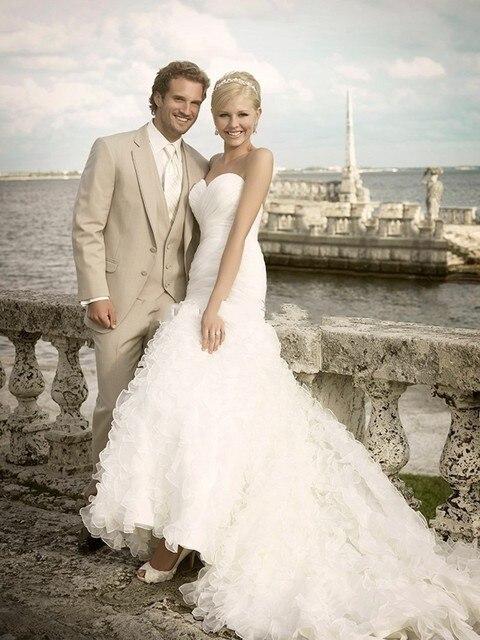 Light Beige Linen Suits Beach Wedding Tuxedos For Men Wedding Coat ...