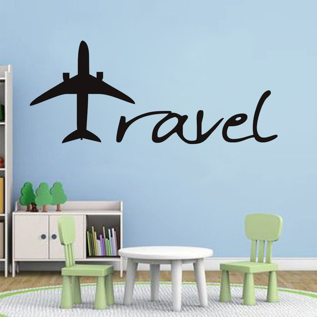 cartoon aircraft wall sticker travel letters design wall decal baby