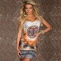 Летняя Мода Женщин Случайные Свободные Шифон Dress Sexy Рукавов О-Образным Вырезом Распечатать Boho Vestidos Пляж Mini Dress