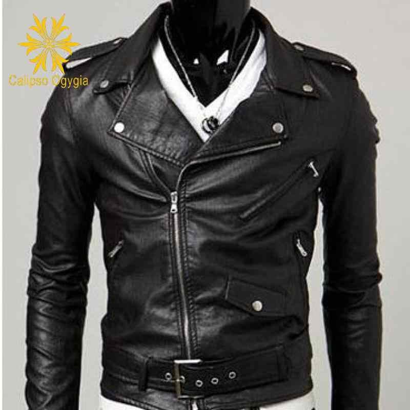 Мужская кожаная куртка байкерская с воротником на осень и зиму| |