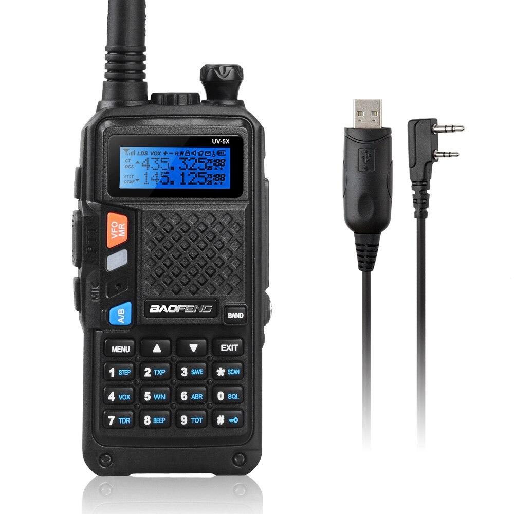 imágenes para UV-5X BAOFENG UHF + VHF de Banda Dual/Doble Reloj Walkie Talkie de 2 Vías de Radio FM + Tokmate Nueva Programación Cable Compatible con MAC WIN10