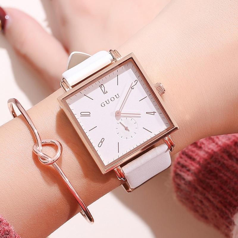 Fashion GUOU Women Watch New Personality Square Women's Wrist Watch Lady Watch Genuine Leather Quartz Watch Relogio Feminino