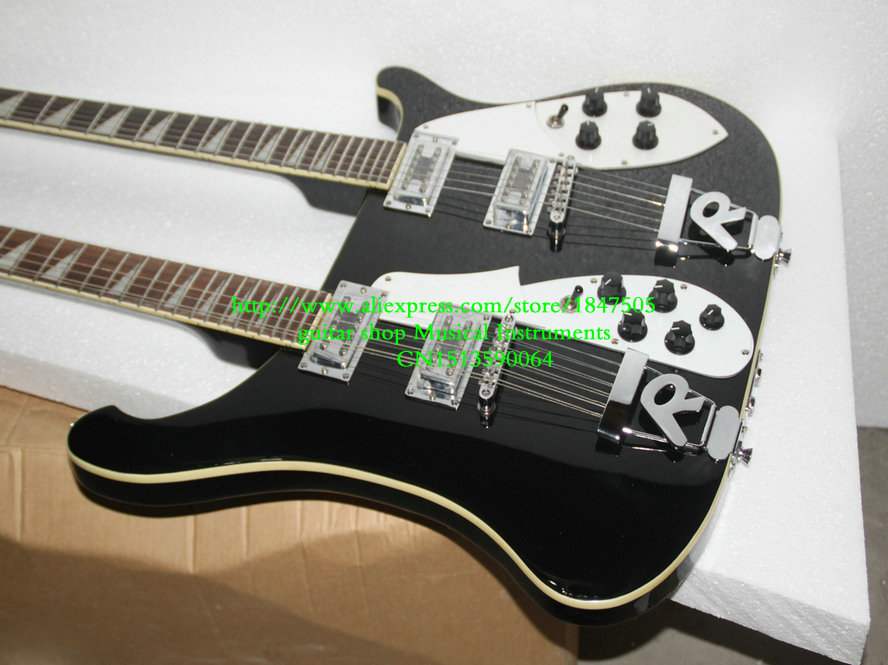 new double neck guitar 6 string guitar and 12 string guitar black electric guitar oem available. Black Bedroom Furniture Sets. Home Design Ideas