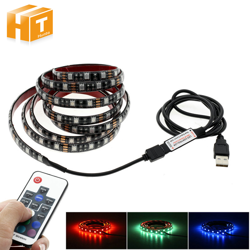 5V USB LED Strip 5050 RGB TV Background Lighting 60LEDs/m with 17Key RF Controller 50cm / 1m / 2m Set.