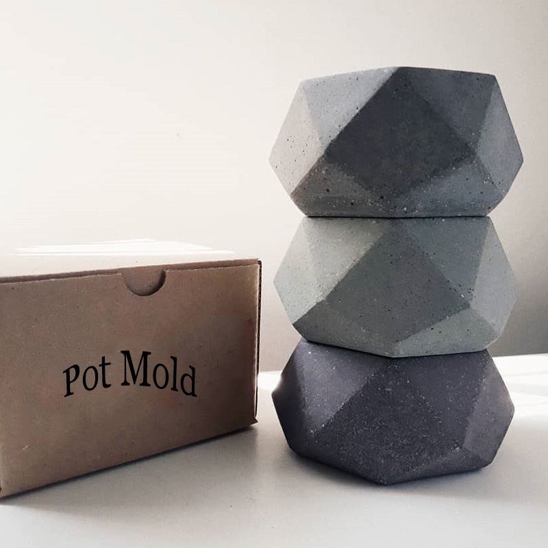 Geometric Cement Flowerpot Silione Mold Wax Candle Holder Silicone Mold Concrete Pot Mold