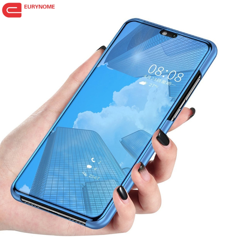 new concept 53a65 488ec US $4.07 9% OFF|Mirror Smart Case For OPPO F7 F5 F9 Find X Case View PU  Kickstand Flip Cover For OPPO R17 Pro R15 R11 Plus A83 A3 A5 A71 A7 Case-in  ...