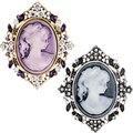 Women's Vintage Beauty Head Rhinestone Floral Brooch Pin Jewelry Charm